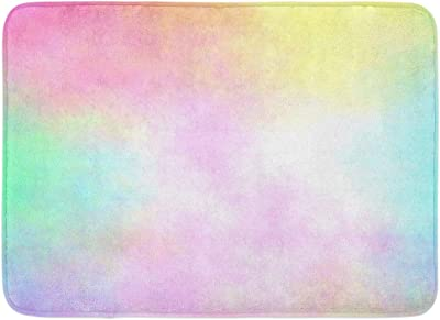 "Emvency Doormats Bath Rugs Outdoor/Indoor Door Mat Yellow Rainbow Pastel Watercolor Airbrush Blue Cyan Magenta Pale Bathroom Decor Rug Bath Mat 16"" x 24"""