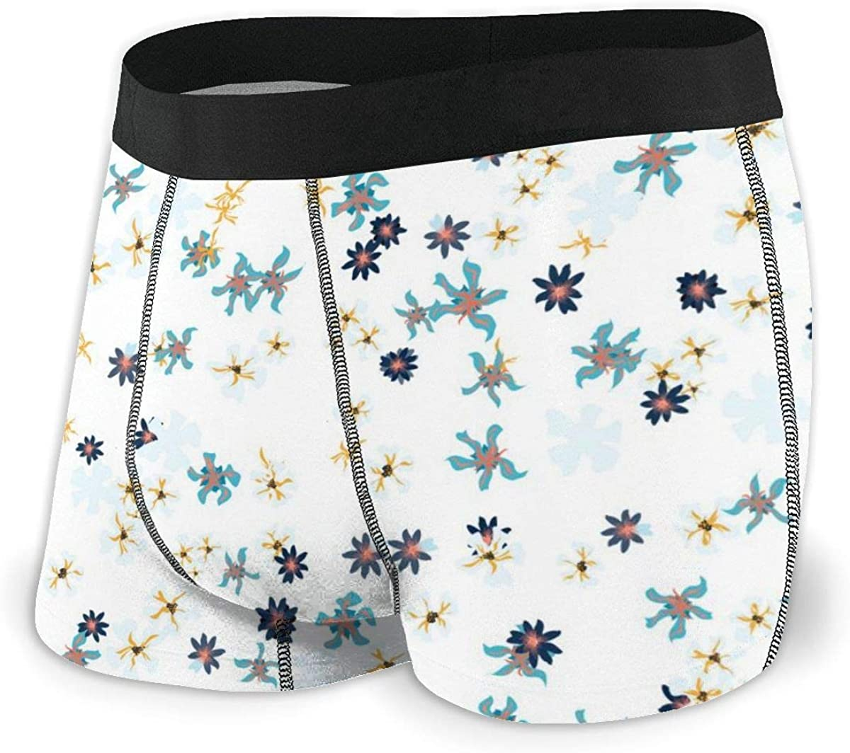 Mens Boxer Briefs Small Floral Flowers Trendy Country Style Breathable Underwear
