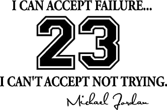 Version 2 I can Accept Failure I Can't Accept not Trying Cute Inspirational Sport Wall Vinyl Decal Quote Art Saying Lettering Basketball Motivational Sticker Stencil Wall Decor Art