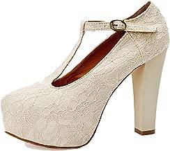 getmorebeauty Women's Marty Janes T-Strappy Lace Women Dress Wedding Shoes