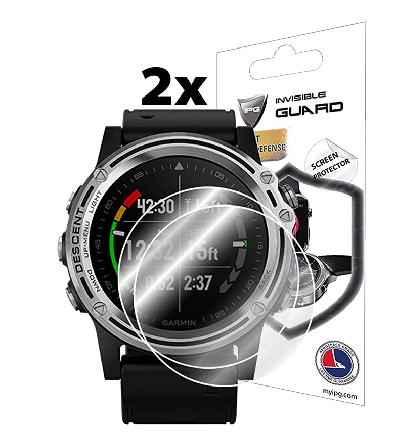 IPG for Garmin Descent Mk1 Smartwatch Screen Protector (2 Units) Invisible Ultra HD Clear Film Anti Scratch Skin Guard - Smooth/Self-Healing/Bubble -Free by