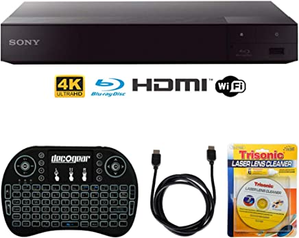 $115 Get Sony BDP-S6700 4K Upscaling 3D Streaming Blu-ray Disc Player + Accessories Bundle Includes, 2.4GHz Wireless Backlit Keyboard w/Touchpad, 6ft HDMI Cable and Laser Lens Cleaner for DVD/CD Players