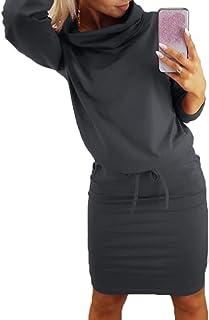 Tomwell Damen Sommerkleid Freizeit Kleid mit Gürtel Rundhals Midi Kleider Ballkleid Blusenkleider Festkleid Frauen Einfarbig Langarm Tasche Wickelkleider Partykleid Abendkleider