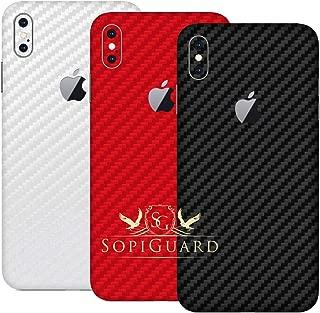 SopiGuard Skin for Apple iPhone Xs MAX Precision Edge-to-Edge Vinyl Sticker (3 x Carbon Black Red White)
