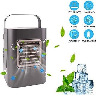 NZBⓇ Mini Space Air Conditioner con 3 Modos de operación Humidificador portátil USB Pequeño Ventilador de refrigeración con manija y desinfección UV