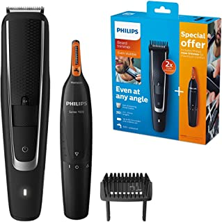 Philips Series 5000 Beard and Stubble Trimmer with Series 1000 Nose, Ear and Eyebrow Trimmer - BT5503/83
