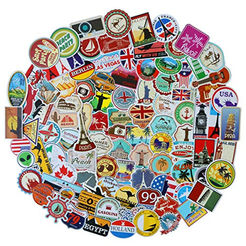 JJLIN 100pcs World Famous Tourism Country & Regions Logo Waterproof Stickers -Travel Map National Flag, Idea for Luggage Skateboard Laptop Luggage Suitcase Book Covers etc (Tourist Wonders)