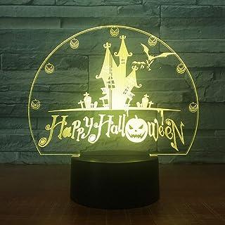 Lampe illusion cadeau 7 couleurs Usb château visuel chauves-souris nuit lumière lampe de bureau Led 3D Home Decor vacances...