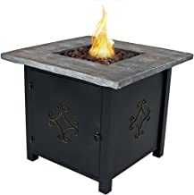 Sunnydaze Propane Gas Fire Pit Table with Lava Rocks - Outdoor Smokeless Patio Fire Pit - 30-Inch Square