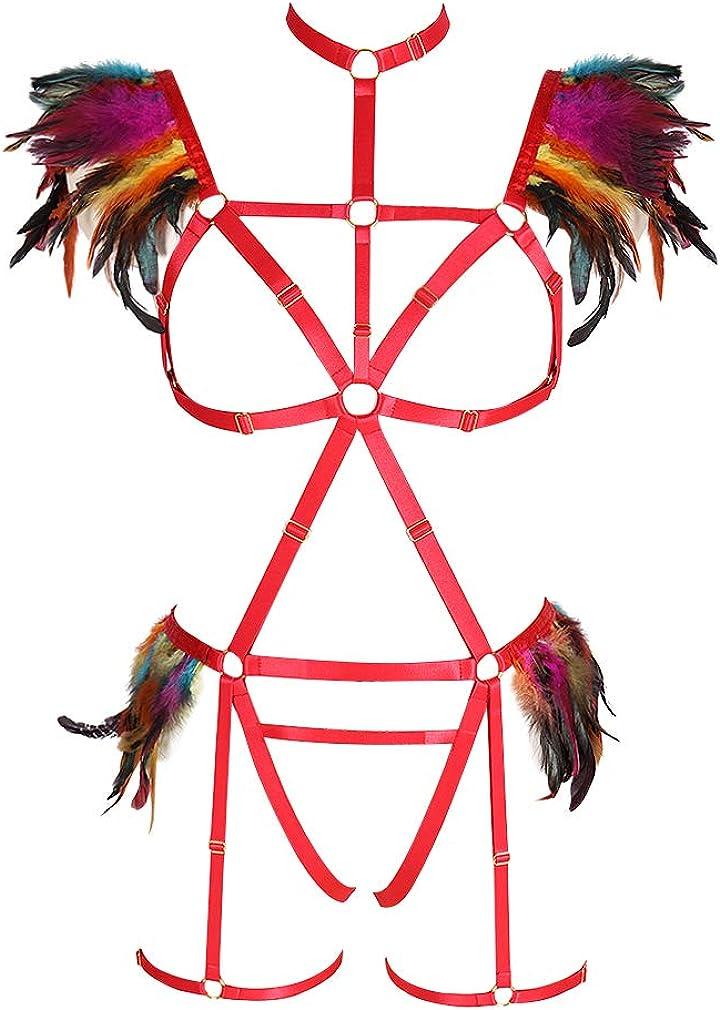 Women Feathers Jacksonville Mall Alternative dealer Epaulets Body Harness Gothic Punk Bra Garter cage