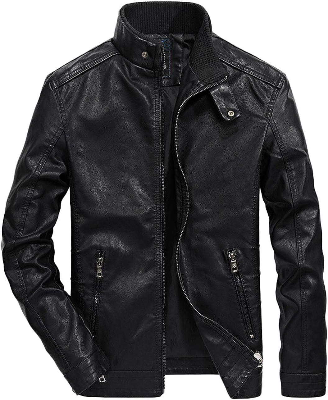 chouyatou Men's Classic Slim Full-Zip Faux Leather Jacket Windproof Windbreaker
