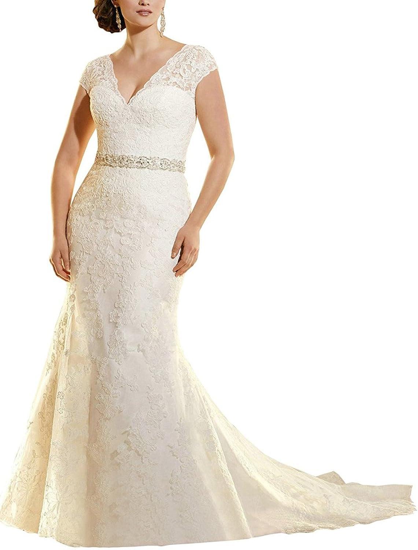 Weddinglee Wedding Dresses for Bride VNeck Lace Wedding Dresses for Bride Capped Sleeve Long Bridal Gowns 2017