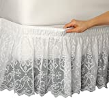 Collections Etc Lace Trimmed Elastic Bed Wrap, Easy Fit Dust Ruffle Bedskirt, White, Queen/King