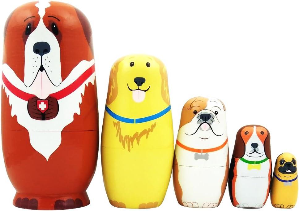 5pcs Cute Dog Nesting Dolls Handmade Russian Outlet sale feature W Wooden Matryoshka Arlington Mall