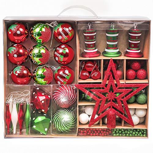 Victor's Workshop Weihnachtskugeln 90 TLG. Christbaumkugeln Set, Plastik Christbaumschmuck für Weihnachtsbaum Dekoration Weihnachtsdeko Party Hausdeko Elfen Thema Rot Grün Weiß