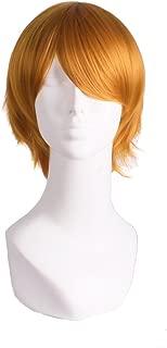 MapofBeauty Men's Short Straight Wig Cosplay Costume Wig (Golden Orange)