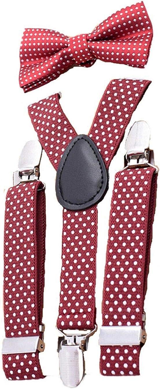 Bow Tie Suspenders for Kids Polka Dot 3 Clips Adjustable Bowtie Braces