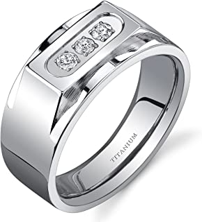 Bold Mens Titanium 3 Stone 10 mm Ring Available Size 8 to 13