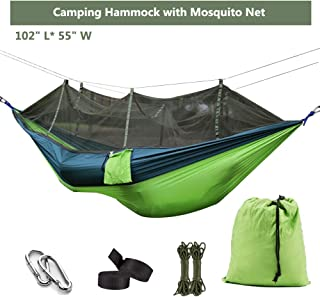 Ufanore Camping Hammock with Mosquito Net, Lightweight Nylon Portable Hammock with Tree Straps, Easy Assembly Parachute Hammock for Camping, Survival, Beach, Yard and More
