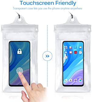 Crenova 3 Pack Waterproof Pouches with Waist Strap and Screen Touchable Phone Case ,Super Lightweight, Bigger Space, ...