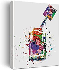 Nail Polish Bottle Watercolor Poster Canvas Wall Art for Home/Nails Studio/Beauty Salon Decor - Nail Varnish Canvas Print Wall Art Painting Ready to Hang Gifts - Easel & Hanging Hook 12x15 Inch