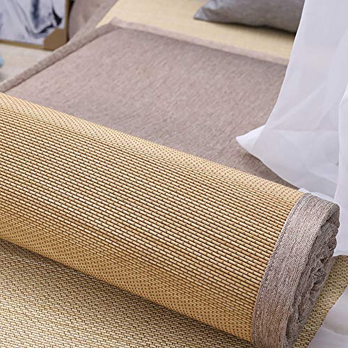RUYII Reversible Japanese Tatami Mat Natural Bamboo Cushion Foldable Traditional Tatami Futon Mattress,B-70×180cm