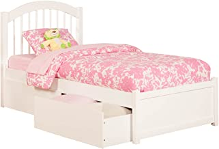 Atlantic Furniture Windsor Platform Bed with 2 Urban Bed Drawers, Twin, White