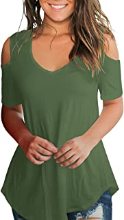SMALNNIE Women's Cold Shoulder T Shirts V Neck Casual Short Sleeve Top