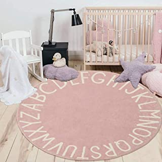 HEBE ABC Baby Rug for Nursery Kids Round Educational Alphabet Warm Soft Large Activity Mat Floor Area Rugs Cotton Non-Slip...