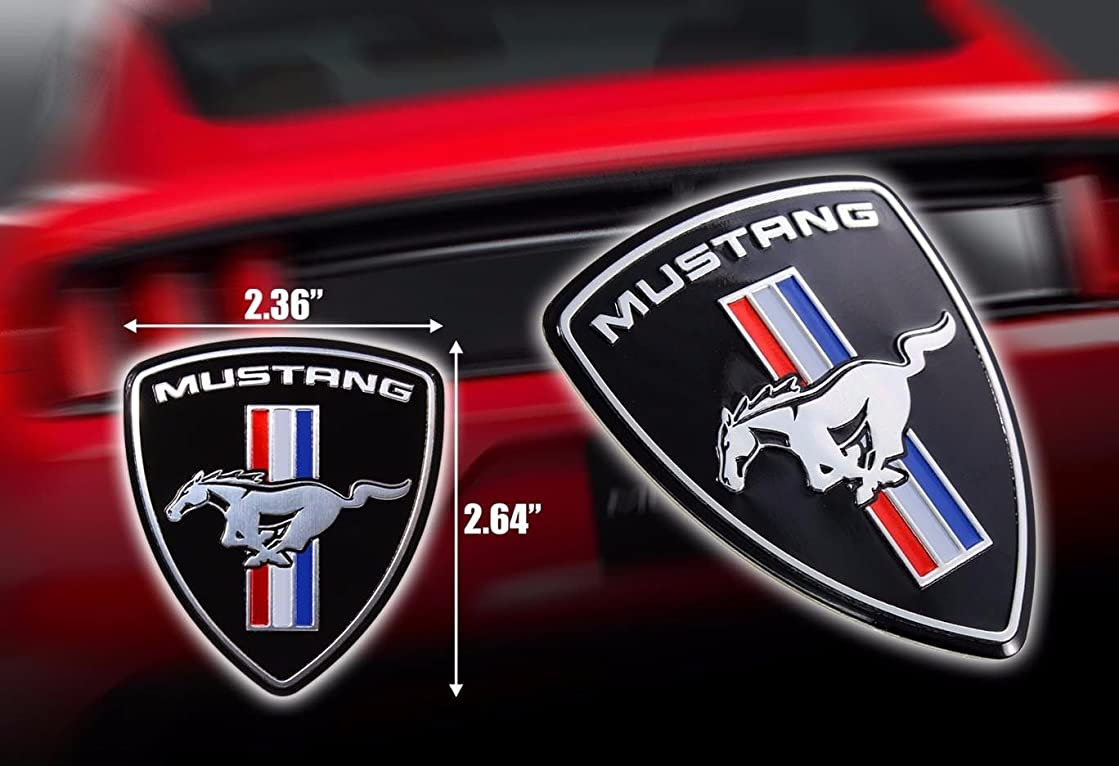 Exotic Store FM-2D Modified Metal (not Plastic) Modified Mustang Ferrari Style Hood Fender Badge Emblem Fender Trunk Nameplate (2 Pieces)