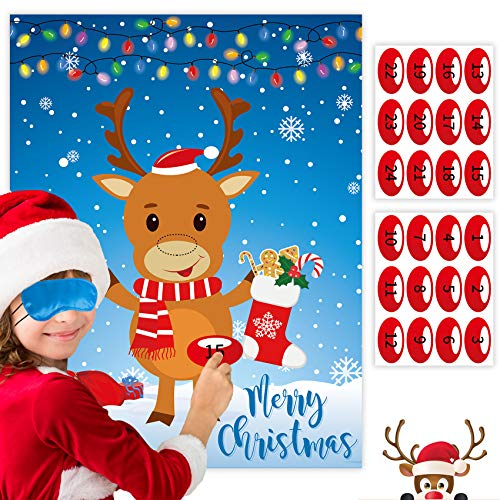 Joy Bang Christmas Games for Kids Pin The Nose on The Reindeer Kids Christmas Games Activities Xmas Pin Game for Party