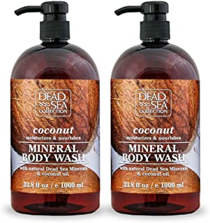 Dead Sea Collection Mineral Body Wash with Coconut Oil Moisturizes and Nourishes Set of 2 (33.8 fl.oz each) total of 67.6 ...