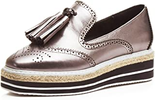 MINIVOG Women's Perforated Tassels Wingtip Oxfords Pewter Leather Brogue Shoes
