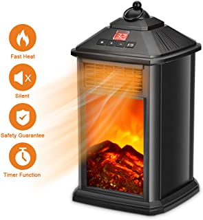 Portable Fireplace Heater - Space Heater for Office Home Indoor Use, Electric Heater 800W with Adjustable Thermostat Ceramic, Portable Space Heater with Remote, Tip-Over & Overheat Protection