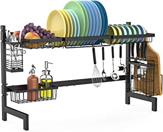 Over the Sink Dish Drying Rack, Cambond Dish Drainer Shelf Stainless Steel Dish Rack with Utensils Holder for Kitchen Counter, (Sink size = 31.9 inch)