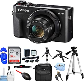 Canon PowerShot G7 X Mark II Digital Camera 1066C001 Bundle with 32GB SD, LED Light Kit, 57