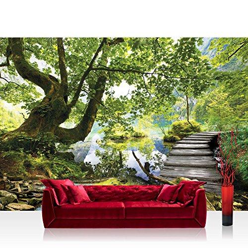 Vlies Fototapete 416x254 cm PREMIUM PLUS Wand Foto Tapete Wand Bild Vliestapete - Natur Tapete Baum Wasser Ausblick StegAst grün - no. 4444