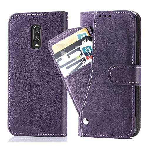 Asuwish Oneplus 7/6T Wallet Case,Luxury Leather Phone Cases with Credit Card Holder Kickstand Stand Shockproof Rugged Flip Folio Protective Cover for Oneplus7 Oneplus6t One Plus6t Plus7 1+ 6 T Purple