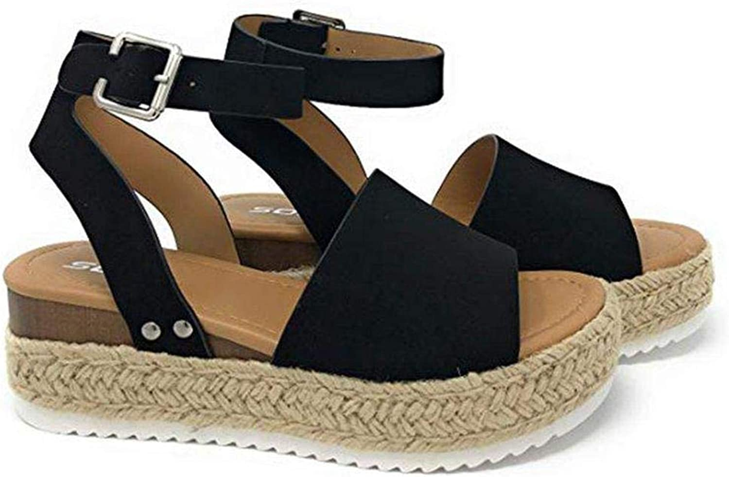 Queind Women Summer Non-Slip Fish Mouth Solid Wedge Heel Sandals shoes Sandals