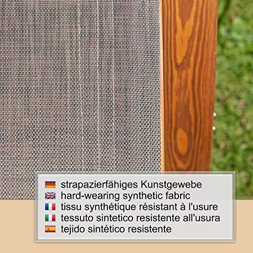 Ampel 24 Relax Schaukelstuhl Rio, Relaxliege mit Armlehnen, Gartenmöbel aus vorbehandeltem Holz, Stuhl Bespannung braun, wetterfeste Gartenliege - 4