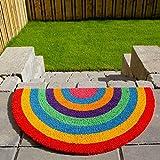 The Rug House Novelty Bright Rainbow Coir Half Moon Entrance Doormats Anti-Slip PVC Back Durable Decorative Welcome Front/Back Door Mats 45cm x 75cm