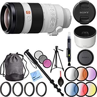 Sony FE 100-400mm f/4.5-5.6 GM OSS Full Frame E-Mount Lens Bundle with 60 Inch Tripod, 72-Inch Monopod, 77mm Filter Sets, 77mm Filter Kit, Cleaning Pen, Lens Blower and Microfiber Cleaning Cloth