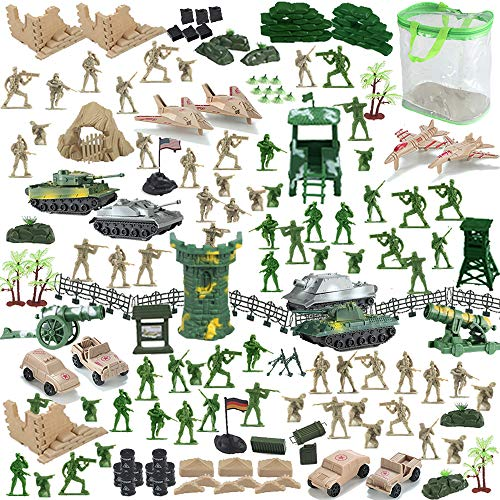 Nasidear 140 Piece Military Figures and Accessories - Toy Army Soldiers in 2 Colors, 14 Design Military Vehicle,War Soldiers Playset with 2 Flags and Battlefield Accessories