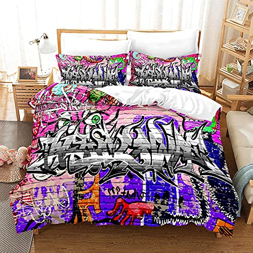 Bedclothes-Blanket Juego de Cama Matrimonio,SANDET Patrón de Tendencia de la Calle Hip Hop de Tres Piezas 3D-6_230 * 220cm