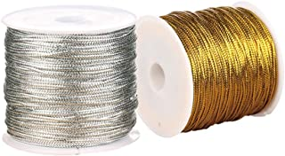 SUPVOX 2 Rolls Metallic Cord Tinsel String Non-Stretch Craft Making Cord For Hanging Tags Gift Wrap Hair Braiding 1Mm X 12...