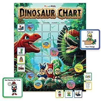 Dinosaur Chore Chart for Kids - Magnetic Behavior Chart to Spark New Routines & Responsibility at Home - Reward Chart to Raise Star Children Boys & Girls - Task & Reward Magnets