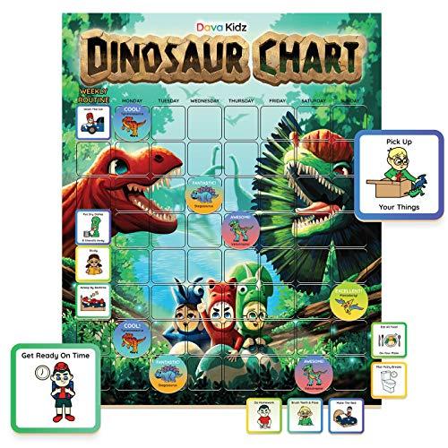 Dinosaur Chore Chart for Kids | Magnetic Reward Chart to Spark New Routines & Responsibility at Home | Behavior Chart to Raise Star Children Boys & Girls | Unique Task & Reward Magnets