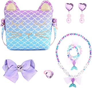 Mibasies Purse for Little Girls Dress Up Jewelry Pretend Play Kids Mermaid Gift