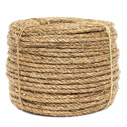 Golberg Twisted Manila Rope – Great for Indoor Outdoor uses Docking Piers, 3 Strand Natural Fiber (3/8 Inches Diameter,100 Feet)