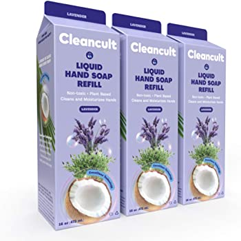 cleancult Liquid Hand Soap Refill | Biodegradable Eco Friendly Non Toxic Moisturizing Sensitive Skin Safe Natural Ingredient Reduced Waste Package, Lavender Scent, 16 oz Carton, 3 Pack